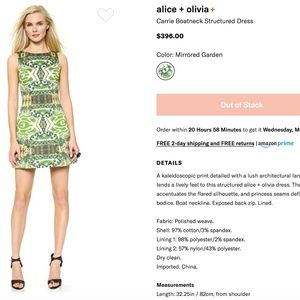 alice + olivia Carrie Boatneck Structured Dress
